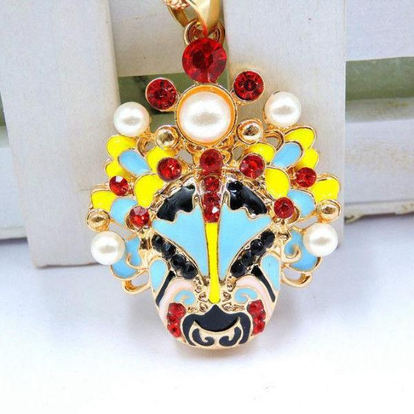 Betsey Johnson Face Mask Multi-Color Crystals Pendant Necklace