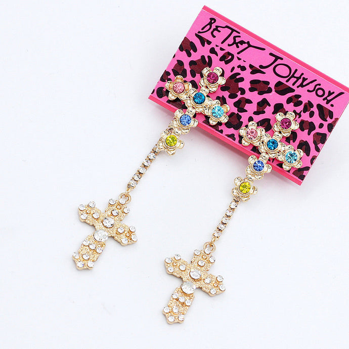Betsey Johnson Multi-Color Crystal Flower Cross Long Dangle Earrings