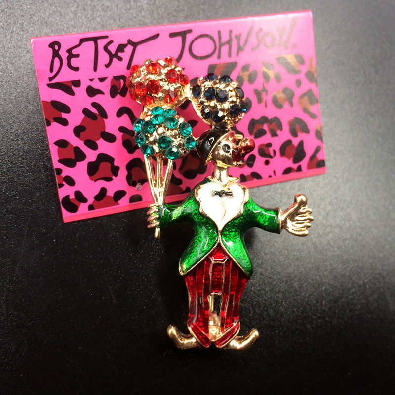 Betsey Johnson Clown Multi-Color Rhinestone Balloon Brooch Pin