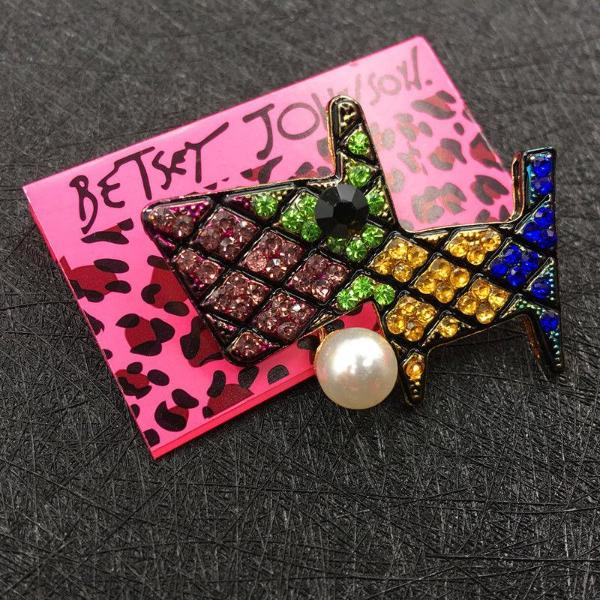 Betsey Johnson Dog Multi-Color Crystal Faux Pearl Ball Brooch Pin