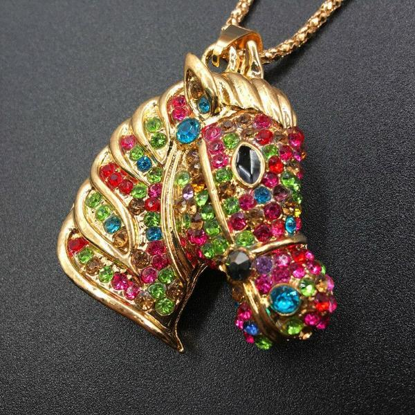 Betsey Johnson Horse Stallion Multi-Color Crystal Pendant Necklace