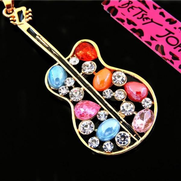 Betsey Johnson Multi-Color Rhinestone Guitar Gold Pendant Necklace