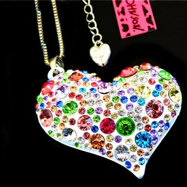 Betsey Johnson  Heart Multi-Color Crystal Silver Necklace