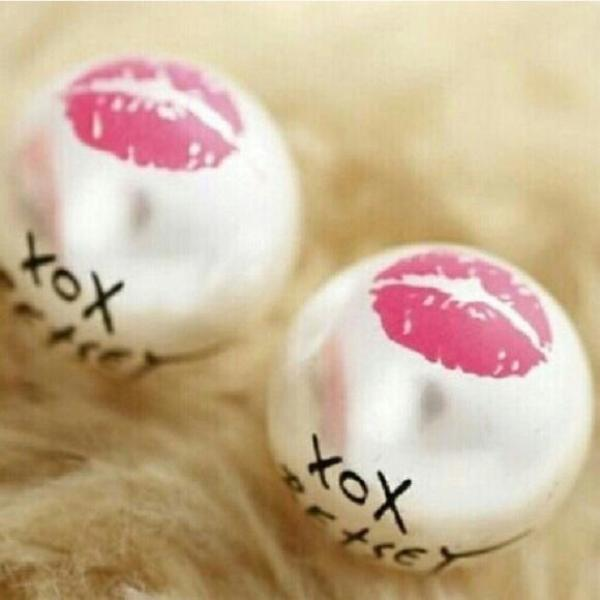 Betsey Johnson XO White Faux Pearl Earrings