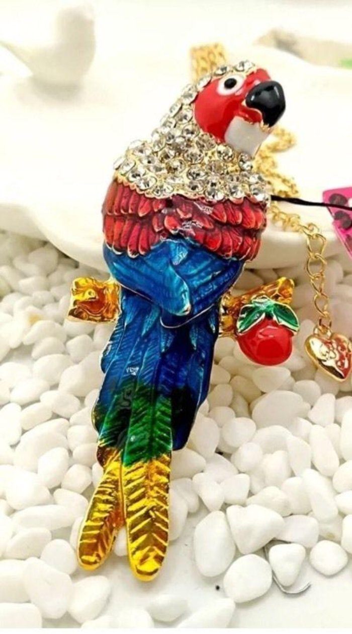 Betsey Johnson Parrot Bird Multi-Color Gold Pendant Necklace