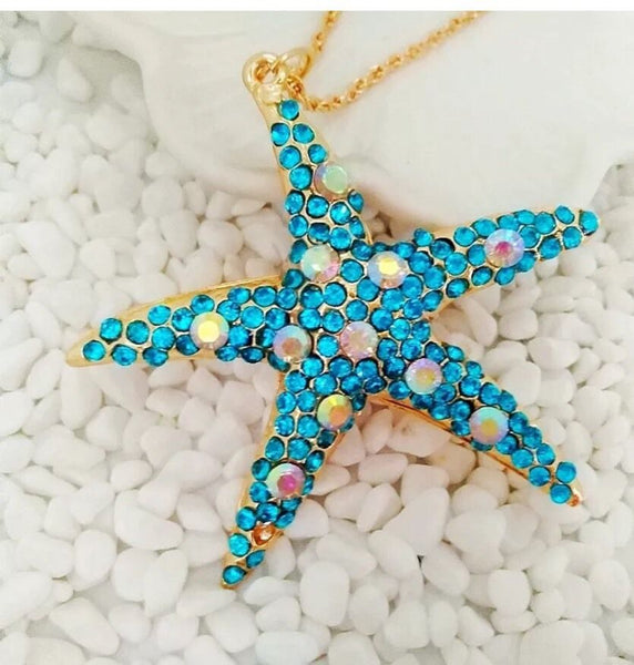 Betsey Johnson Blue & Abalone Crystal Starfish Gold Necklace