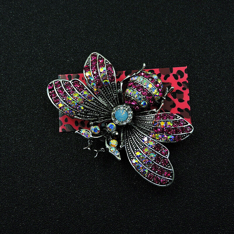 Betsey Johnson Bumblebee Bee Purple Crystal Brooch Pin