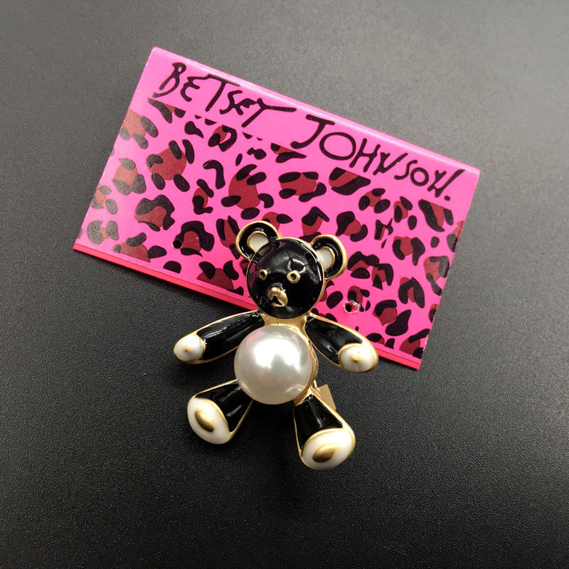 Betsey Johnson Black & White Enamel Little Bear Faux Pearl Brooch Pin