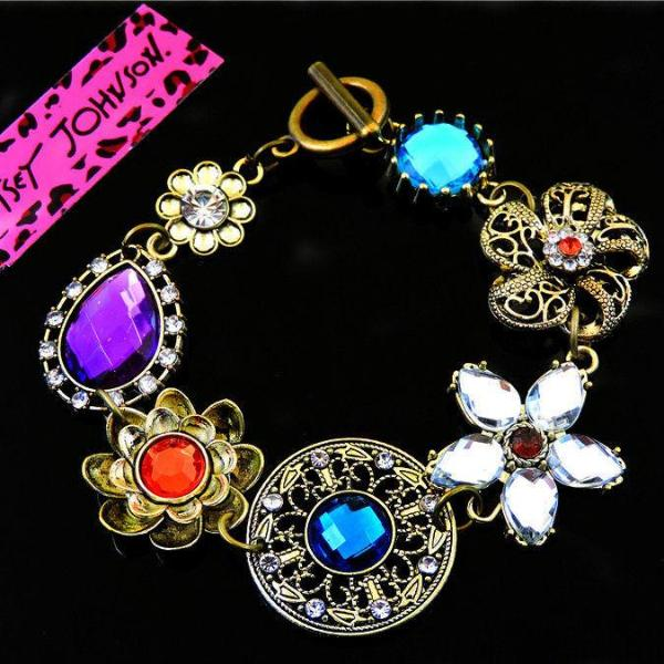 Betsey Johnson Multi-Color Rhinestone Enamel Flower Charm Bracelet