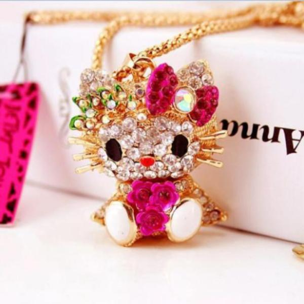 Betsey Johnson Adorable Kitty Cat With Pink Bow Flowers Rhinestone Gold Necklace