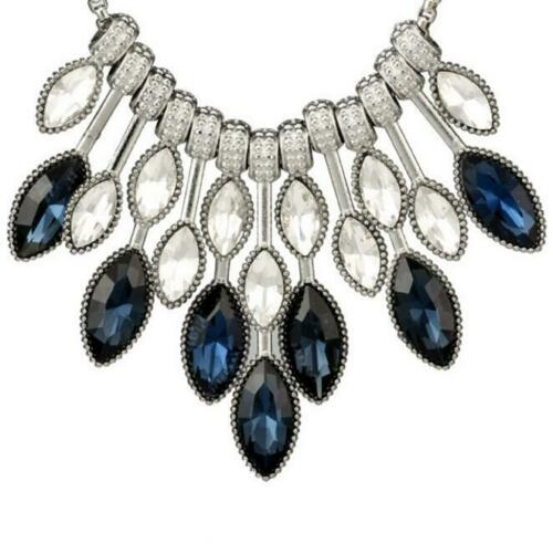 Betsey Johnson Waterfall Blue Clear Crystal Silver Necklace