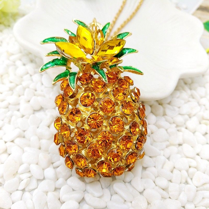 Betsey Johnson Golden Rhinestone Yellow Pineapple Gold Necklace
