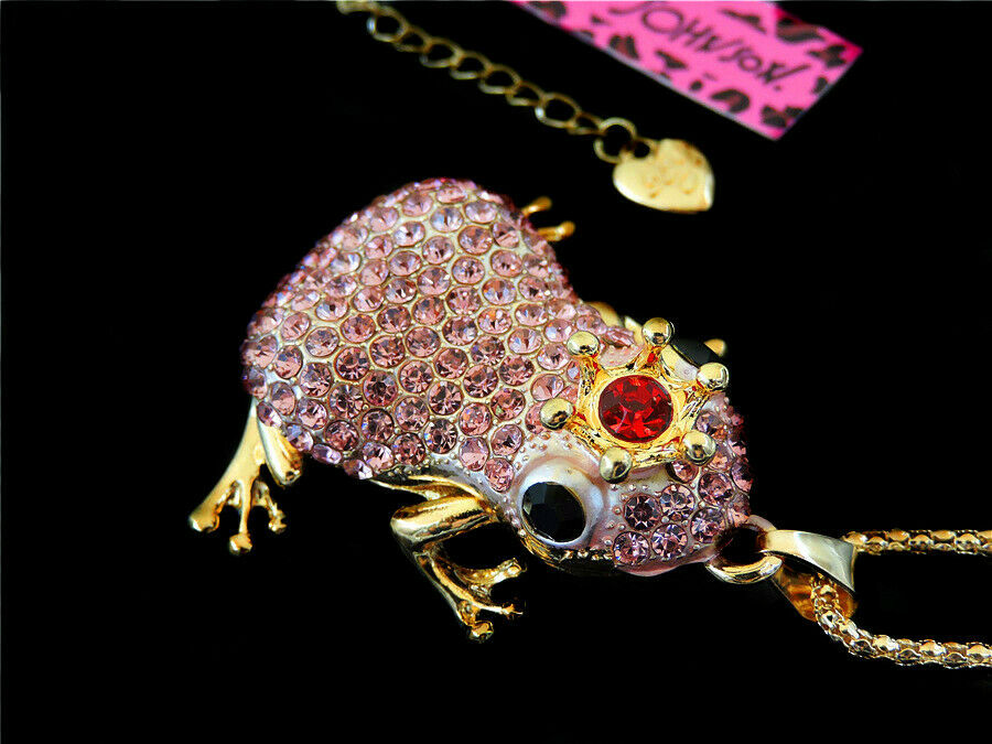 Betsey Johnson Frog Pink Crystal Red Jewel Crown Pendant Necklace