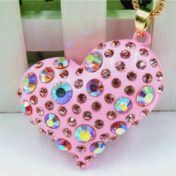 Betsey Johnson Heart Pink Crystals Gold Pendant Necklace