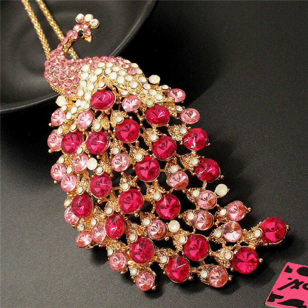 Betsey Johnson Peacock Pink Rhinestone Gold Pendant Necklace