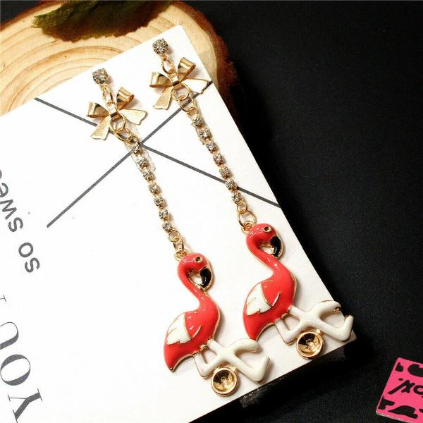 Betsey Johnson Flamingo Pink Enamel Dangle Earrings