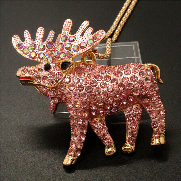 Betsey Johnson Pink Moose Pendant Necklace