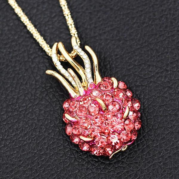 Betsey Johnson Pink Crystal Fruit Pitaya Pendant Necklace