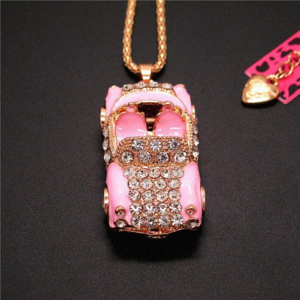 Betsey Johnson Pink Enamel Convertible Car Rhinestone Pendant Necklace
