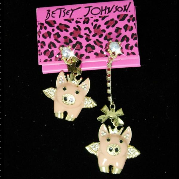 Betsey Johnson Pink Asymmetrical Flying Pigs Gold Earrings