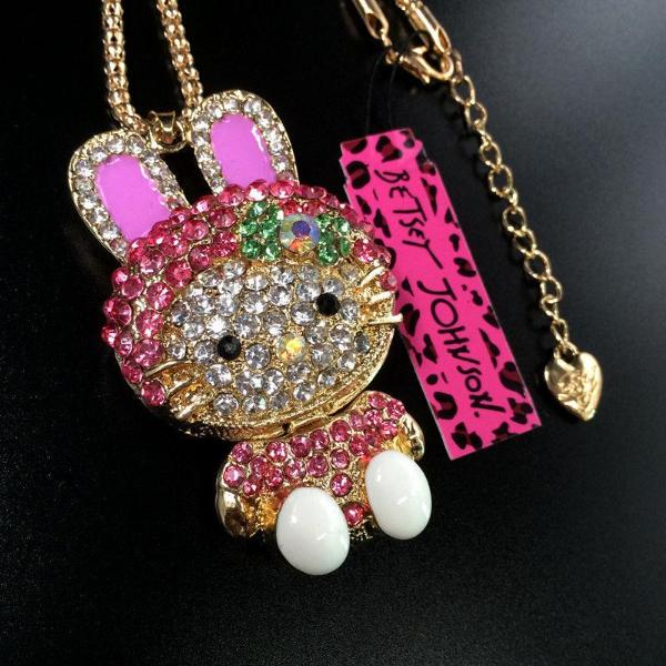 Betsey Johnson Adorable Pink Rhinestone Rabbit Bunny Flower Bow Necklace