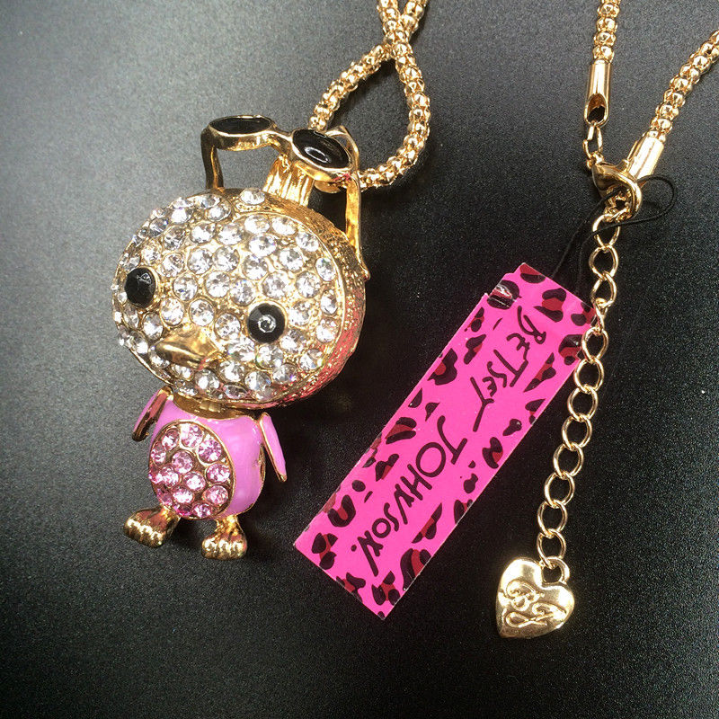 Betsey Johnson Pink Rhinestone Penguin With Sunglasses Gold Necklace