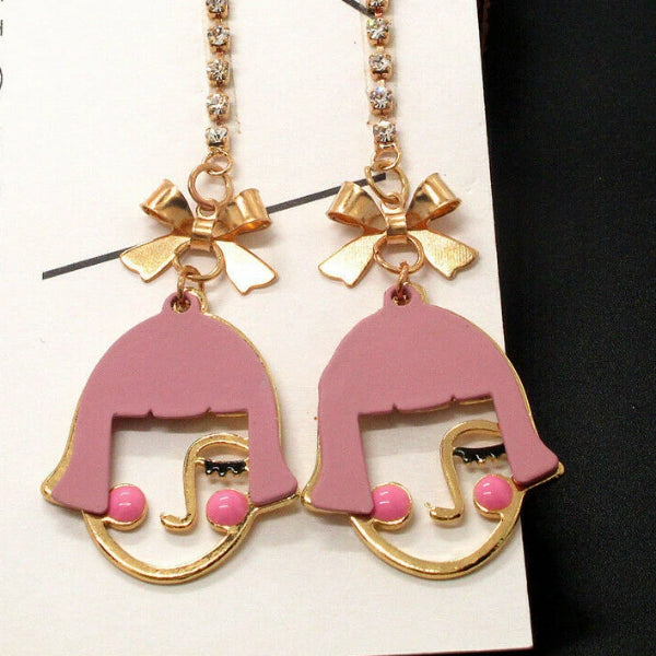 Betsey Johnson Face Pink Enamel Rhinestone Earrings