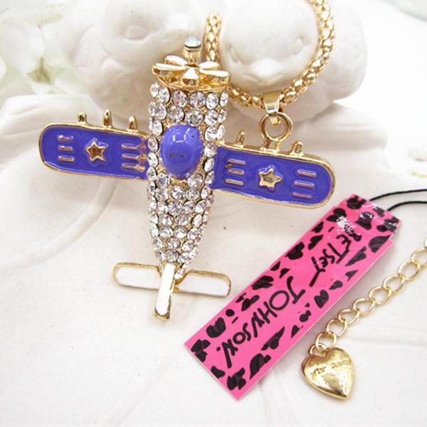 Betsey Johnson Purple Airplane Plane Aircraft Rhinestone Gold Necklace