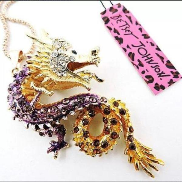 Betsey Johnson Chinese Dragon Purple Crystal Gold Long necklace