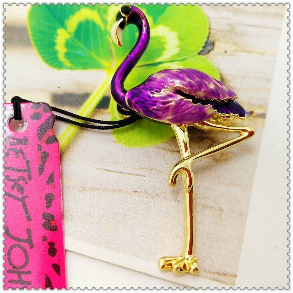 Betsey Johnson Purple Flamingo Bird Brooch Pin