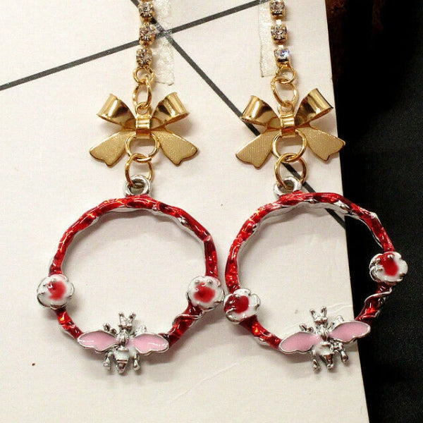 Betsey Johnson Bee Faux Pearl Crystal Bow Earrings