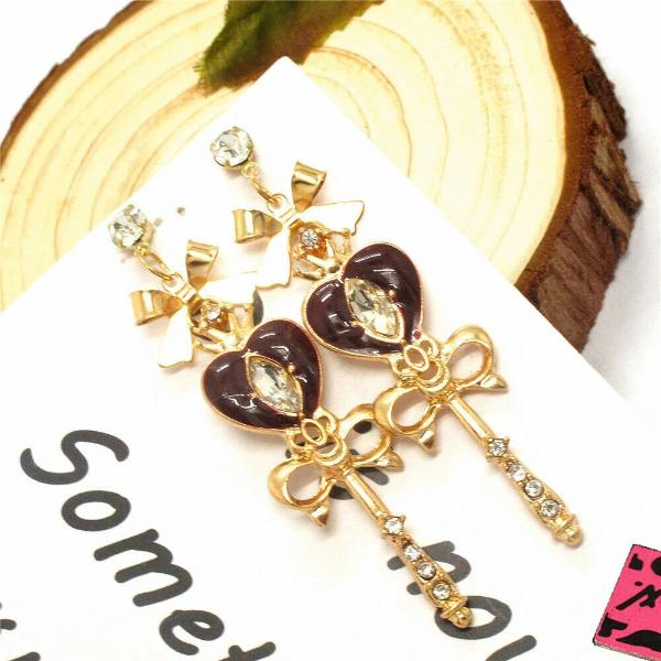 Betsey Johnson Heart Scepter Bow Crystal Earrings