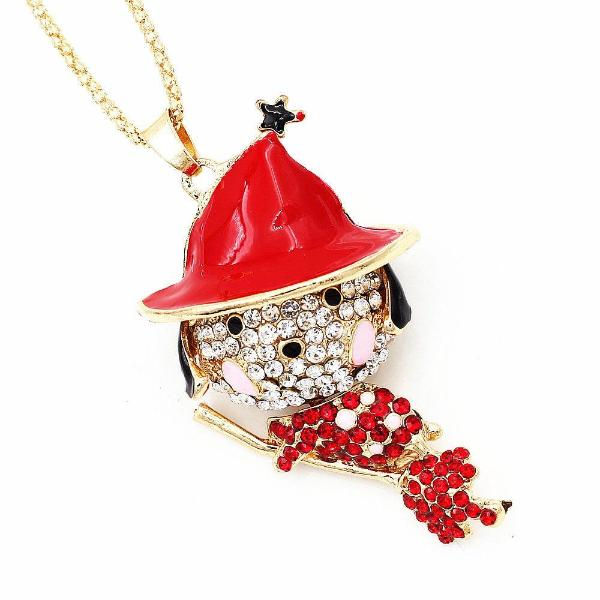 Betsey Johnson Witch Dog Riding Broom Red Halloween Necklace