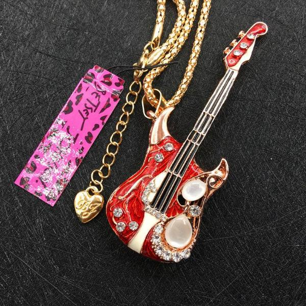 Betsey Johnson Red Enamel Guitar Rhinestone Gold Necklace