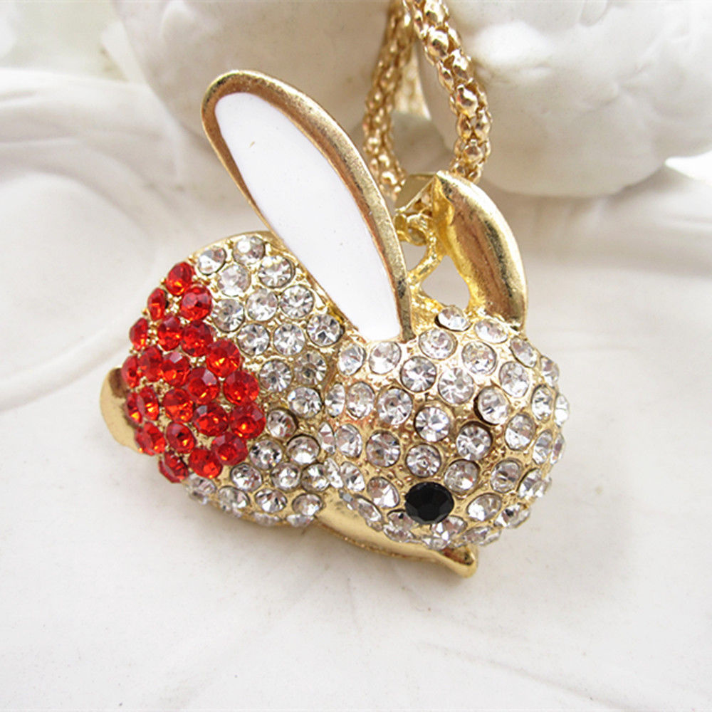 Betsey Johnson Red Crystal Rabbit White Enamel Pendant Gold Necklace