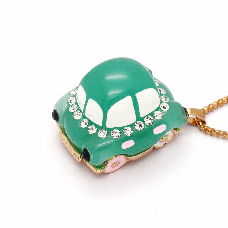 Betsey Johnson Car Blue Resin White Enamel Crystal Necklace