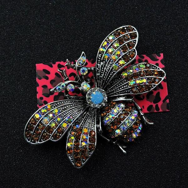 Betsey Johnson Bumblebee Bee Multi-Color Crystal Brooch Pin