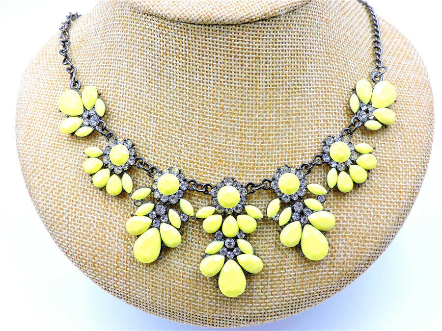 Betsey Johnson Yellow Bead White Crystal Pendant Necklace