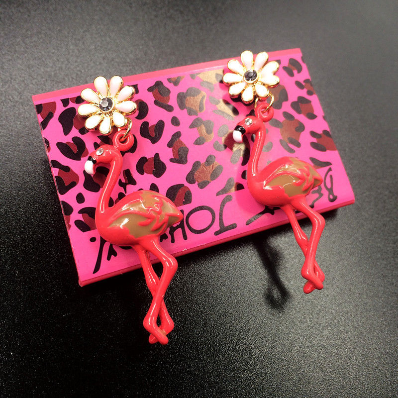 Betsey Johnson Flamingo Flower Rhinestone Earrings