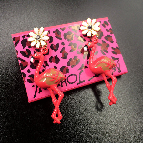 Betsey Johnson Pink Enamel Flamingo Bird Flower Rhinestone Earrings