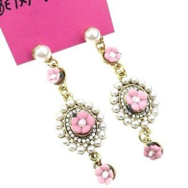 Betsey Johnson Vintage Pink Flowers Rhinestone Faux Pearls Earrings