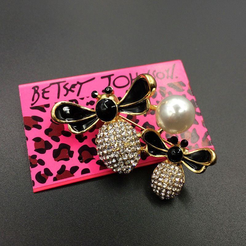 Betsey Johnson Double Bee Honeybee Crystal Yellow & Black Brooch Pin