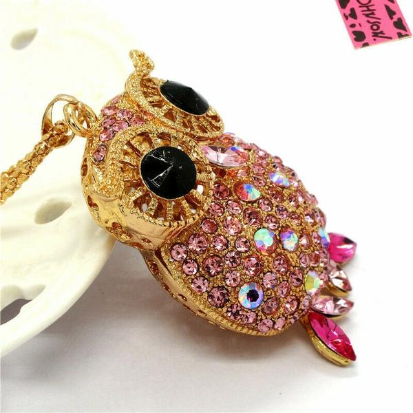Betsey Johnson Pink Owl Rhinestone Gold Pendant Necklace