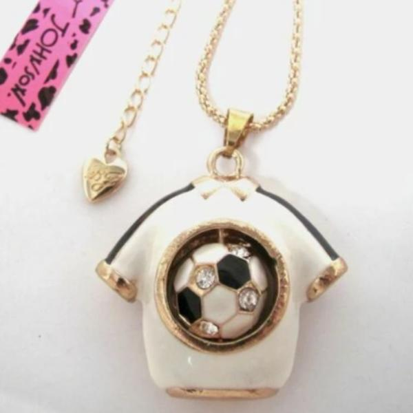 Betsey Johnson Soccer Jersey Spinning Crystal Ball Pendant Necklace