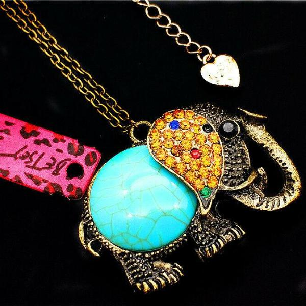 Betsey Johnson Turquoise Elephant Vintage Crystal Pendant Necklace