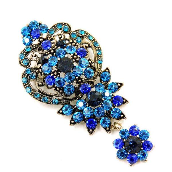 Betsey Johnson Blue Vintage Style Flower Rhinestone Crystal Brooch Pin