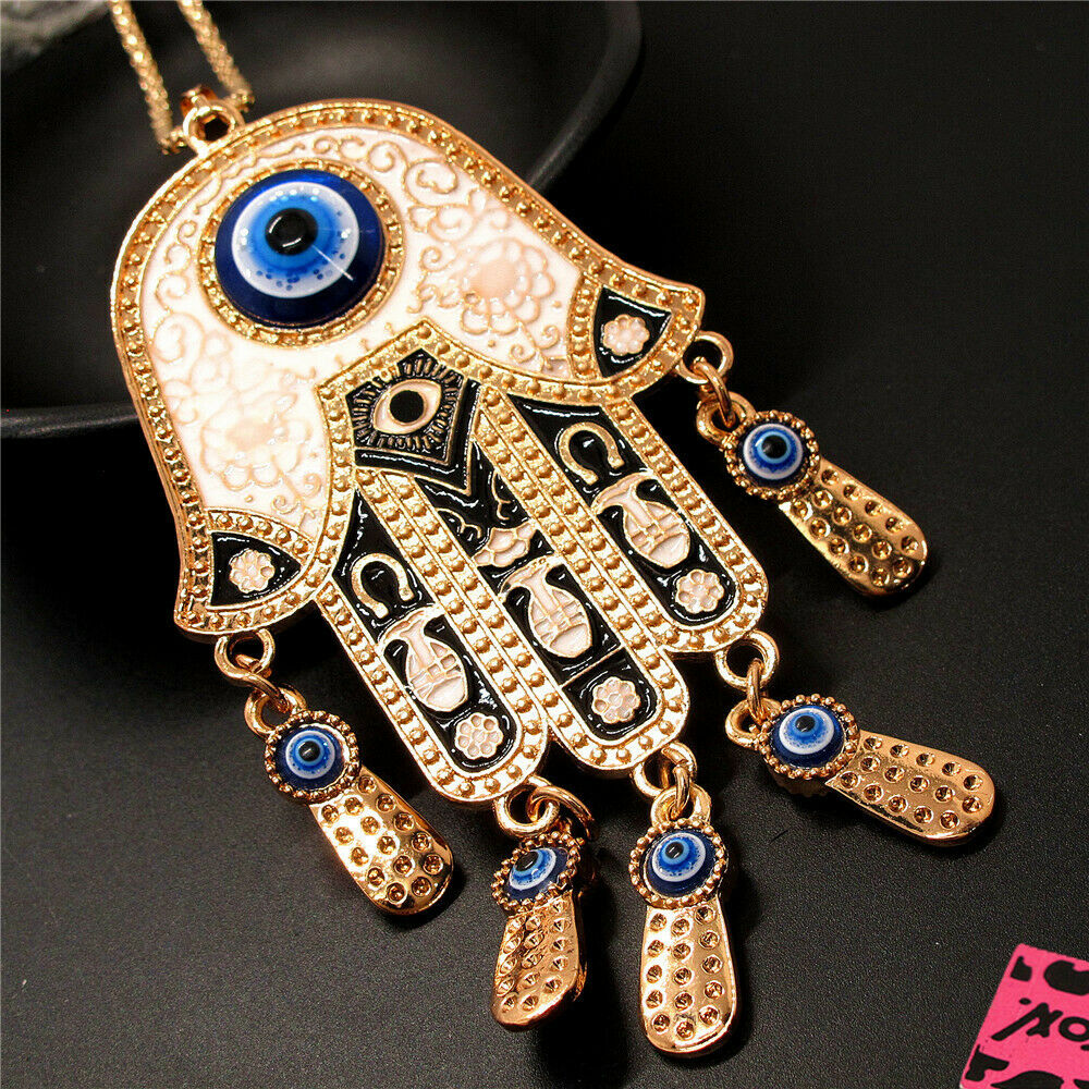 Betsey Johnson White Enamel Palm Turkish Evil Eyes Necklace