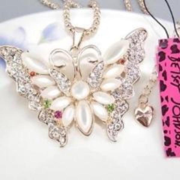 Betsey Johnson White Opal Multi-Colored Stone Butterfly Necklace