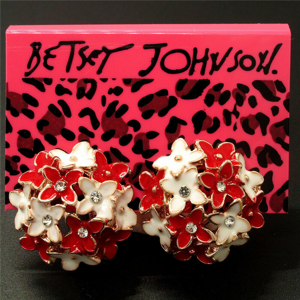 Betsey Johnson Flower Red & White Enamel Earrings