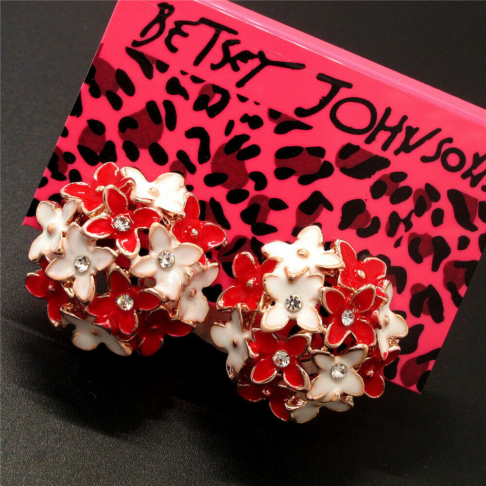 Betsey Johnson Flower Red & White Enamel Lever back Earrings